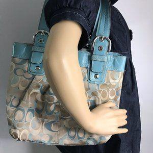 Coach Bags - Coach Brown Green Medium Fabric Shoppers Tote Bag